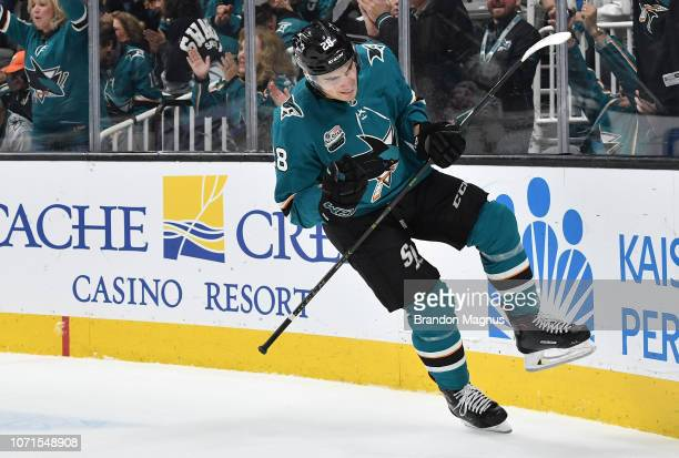 Timo Meier of the San Jose Sharks celebrates scoring a goal against the New Jersey Devils at SAP Center on December 10 2018 in San Jose California