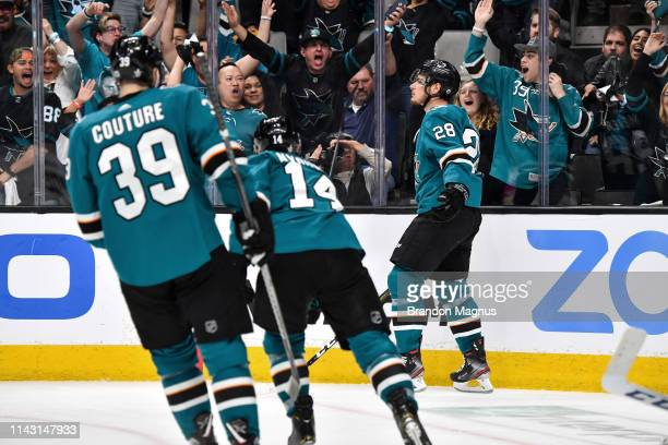 Timo Meier of the San Jose Sharks celebrates scoring a goal against the St Louis Blues in Game One of the Western Conference Final during the 2019...