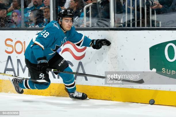 Timo Meier of the San Jose Sharks chases the puck during a NHL game against the Minnesota Wild at SAP Center on April 7 2018 in San Jose California...