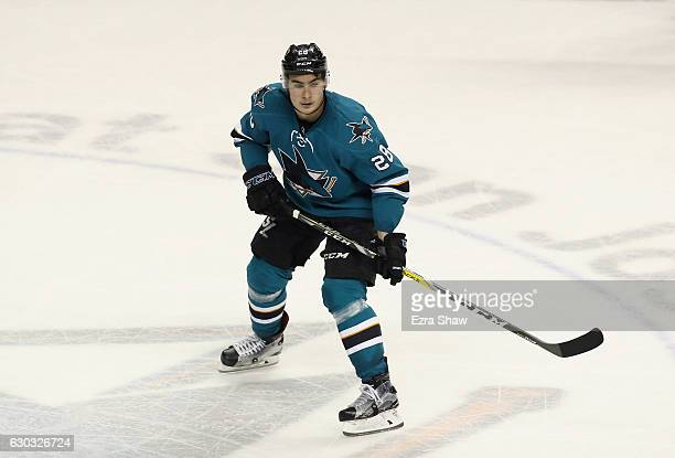 Timo Meier of the San Jose Sharks in action against the Calgary Flames at SAP Center on December 20 2016 in San Jose California