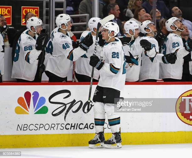 Timo Meier of the San Jose Sharks is congratulated by teammates after scoring a third period goal against the Chicago Blackhawks at the United Center...