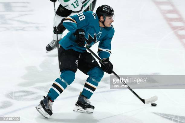 Timo Meier of the San Jose Sharks moves the puck during a NHL game against the Dallas Stars at SAP Center on February 18 2018 in San Jose California