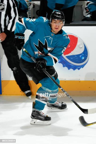 Timo Meier of the San Jose Sharks passes the puck during a NHL game against the Philadelphia Flyers at SAP Center at San Jose on October 4 2017 in...
