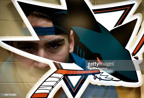 Timo Meier of the San Jose Sharks prepares for warmups against the Vancouver Canucks at SAP Center on December 14 2019 in San Jose California