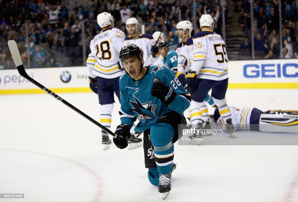 Timo Meier #28 of the San Jose Sharks reacts after he scored on the Buffalo Sabres at SAP Center on October 12, 2017 in San Jose, California.