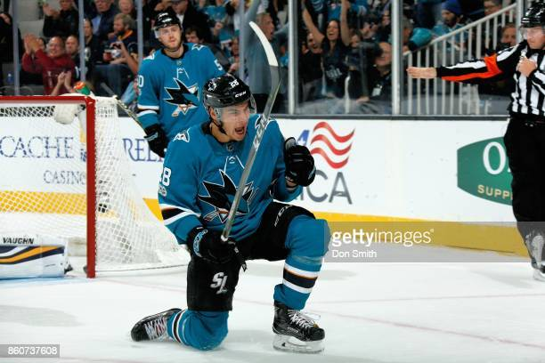 Timo Meier of the San Jose Sharks reacts after scoring a goal in the second period during a NHL game against the Buffalo Sabres at SAP Center at San...