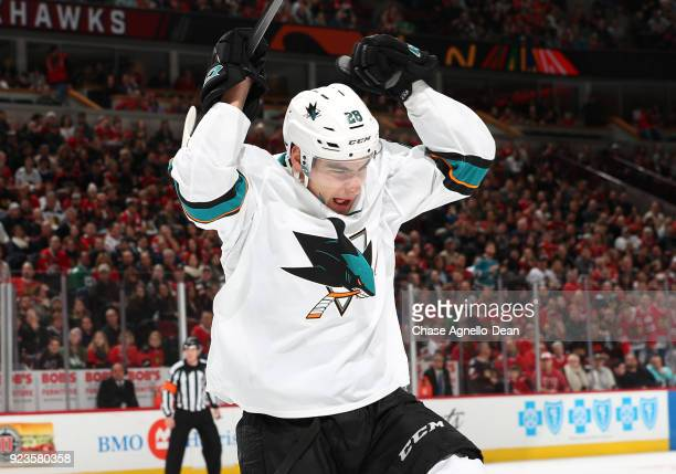 Timo Meier of the San Jose Sharks reacts after scoring against the Chicago Blackhawks in the third period at the United Center on February 23 2018 in...