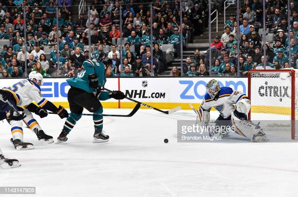 Timo Meier of the San Jose Sharks scores a goal against Jordan Binnington of the St Louis Blues in Game One of the Western Conference Final during...
