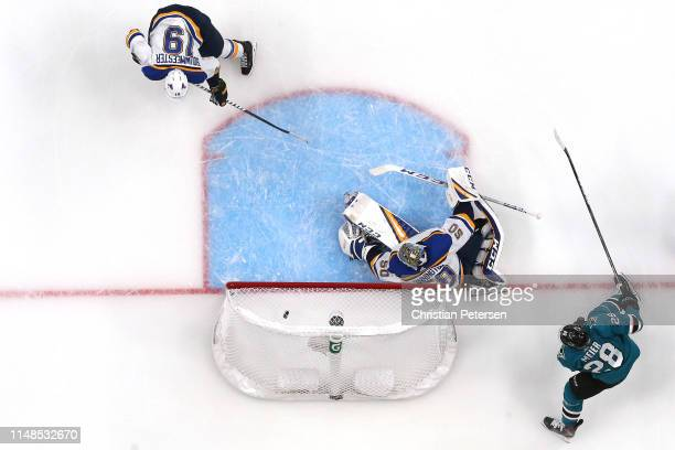 Timo Meier of the San Jose Sharks scores a goal against Jordan Binnington of the St Louis Blues during the second period in Game One of the Western...
