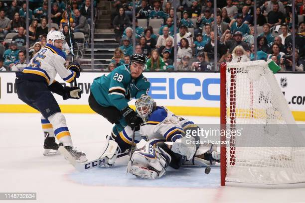 Timo Meier of the San Jose Sharks scores a goal past goaltender Alexander Steen of the St Louis Blues in Game One NHL Western Conference Final during...