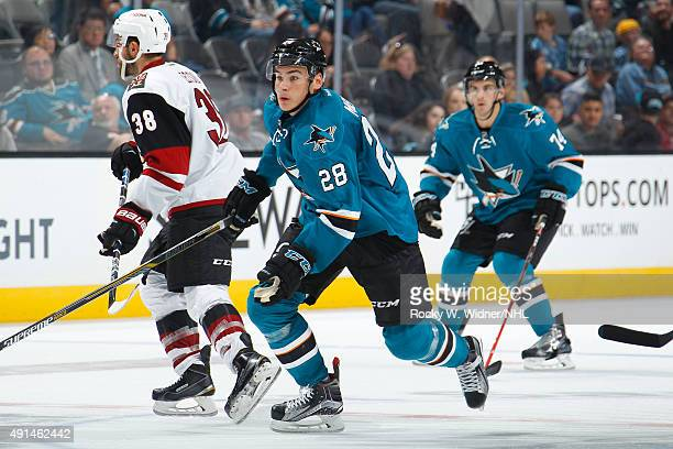 Timo Meier of the San Jose Sharks skates against the Arizona Coyotes at SAP Center on September 25 2015 in San Jose California