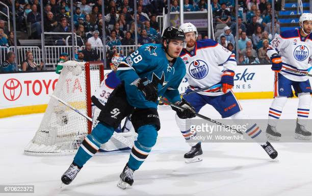 Timo Meier of the San Jose Sharks skates against the Edmonton Oilers in Game Four of the Western Conference First Round during the 2017 NHL Stanley...