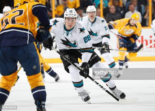 Timo Meier of the San Jose Sharks skates against the Nashville Predators during an NHL game at Bridgestone Arena on March 25 2017 in Nashville...
