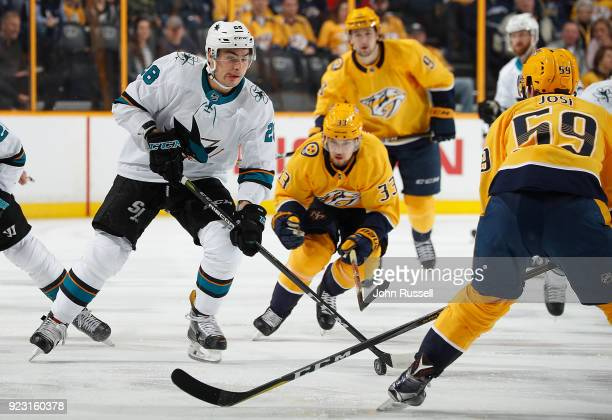 Timo Meier of the San Jose Sharks skates against the Nashville Predators during an NHL game at Bridgestone Arena on February 22 2018 in Nashville...