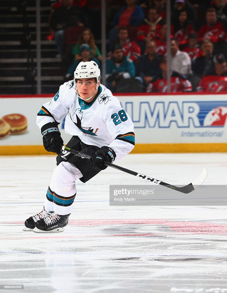 reputable site ac7c2 ecebb Timo Meier of the San Jose Sharks skates against the New ...