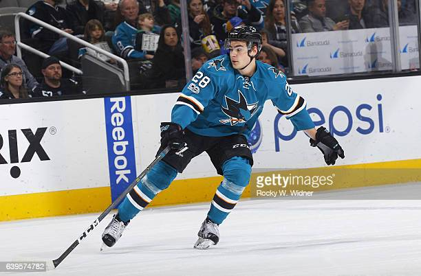 Timo Meier of the San Jose Sharks skates against the St Louis Blues at SAP Center on January 14 2017 in San Jose California