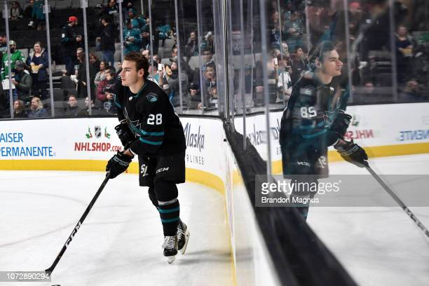 Timo Meier of the San Jose Sharks skates during warmups against the Dallas Stars at SAP Center on December 13 2018 in San Jose California