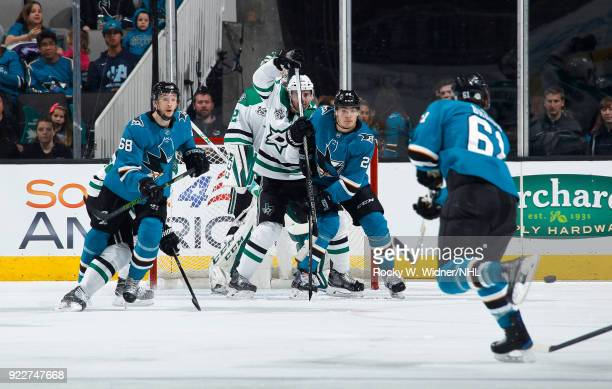 Timo Meier of the San Jose Sharks skates for position against Dan Hamhuis of the Dallas Stars at SAP Center on February 18 2018 in San Jose California