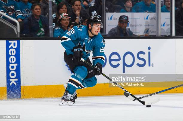 Timo Meier of the San Jose Sharks skates with the puck against the Edmonton Oilers in Game Three of the Western Conference First Round during the...