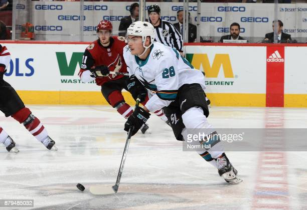 Timo Meier of the San Jose Sharks skates with the puck against the Arizona Coyotes at Gila River Arena on November 22 2017 in Glendale Arizona