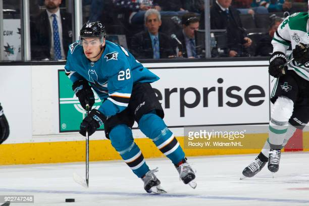 Timo Meier of the San Jose Sharks skates with the puck against the Dallas Stars at SAP Center on February 18 2018 in San Jose California