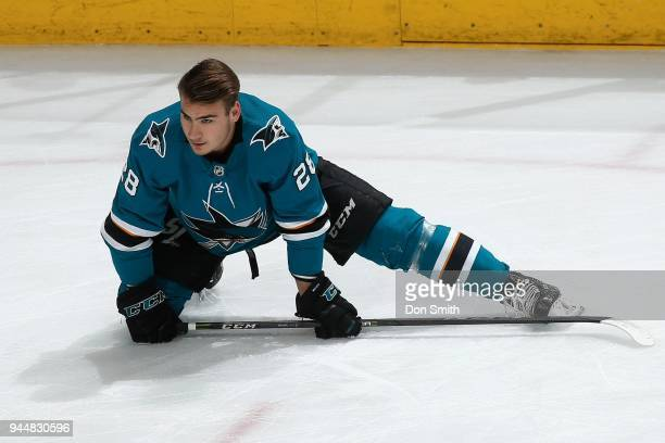 Timo Meier of the San Jose Sharks stretches during warmups prior to a game against the Minnesota Wild at SAP Center on April 7 2018 in San Jose...