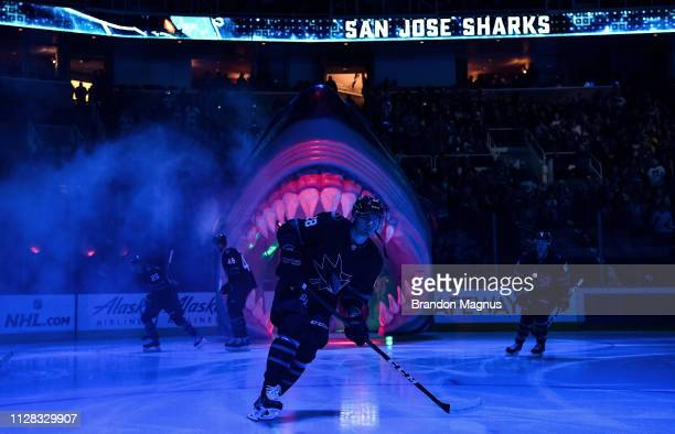 Timo Meier of the San Jose Sharks takes the ice against the Colorado Avalanche at SAP Center on March 1 2019 in San Jose California