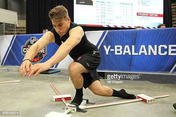 Timo Meier performs a balance test during the NHL Combine at HarborCenter on June 6 2015 in Buffalo New York
