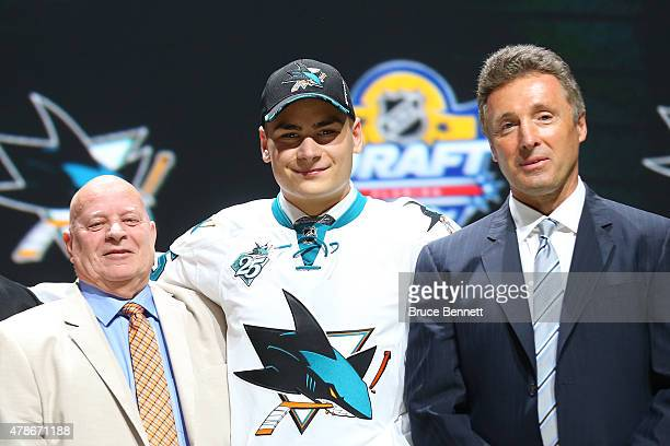 Timo Meier poses after being selected ninth overall by the San Jose Sharks in the first round of the 2015 NHL Draft at BBT Center on June 26 2015 in...