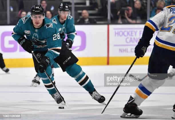 Timo Meier skates the puck ahead against the St Louis Blues at SAP Center on November 17 2018 in San Jose California