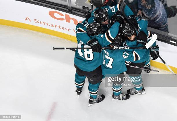 Timo Meier Tomas Hertl Joakim Ryan Brent Burns and Logan Couture of the San Jose Sharks celebrate a goal against the Edmonton Oilers at SAP Center on...