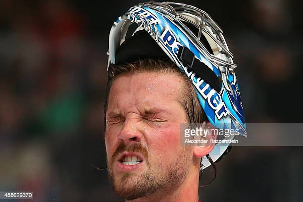 Timo Pielmeier, goalie of Germany reacts during match 3 of the Deutschland Cup 2014 between Germany and Slovakia at Olympia Eishalle on November 8,...