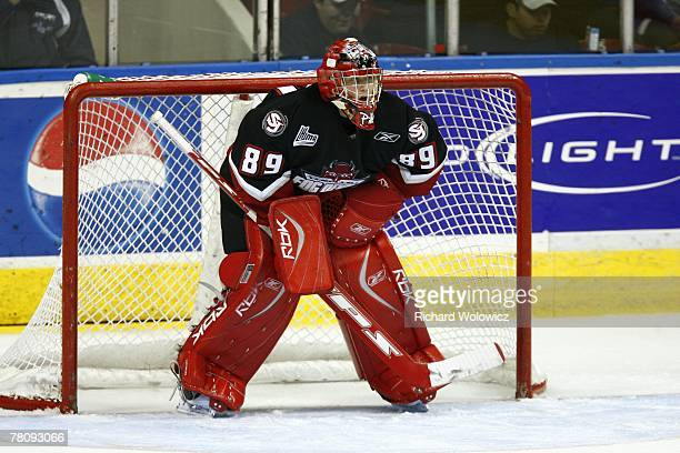 Timo Pielmeier of the Saint Johns Fog Devils watches play during the game against the Quebec City Remparts at Colisee Pepsi on November 23, 2007 in...