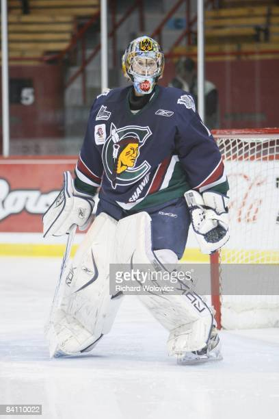 Timo Pielmeier of the Shawinigan Cataractes watches play during the game against the Montreal Juniors at the Verdun Auditorium on December 10, 2008...
