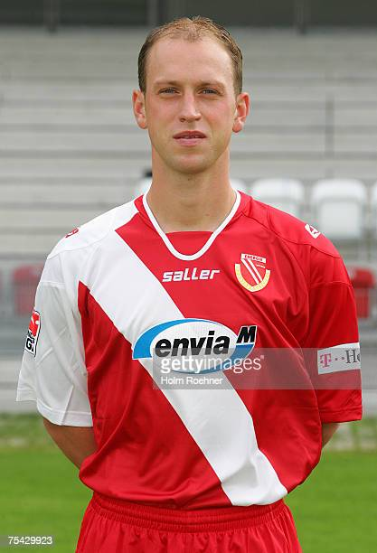 Timo Rost poses during the Bundesliga 2nd Team Presentation of FC Energie Cottbus on July 13 2007 in Jena Germany