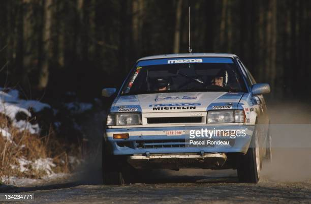 Timo Salonen and co driver navigator Voitto Silander of Finland driving the Mazda Rally Team Mazda 323 4WD during the FIA World Rally Championship...