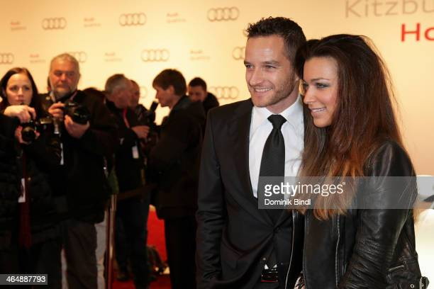 Timo Scheider and Jessica Hinterseer attend the Audi Night 2014 on January 24 2014 in Kitzbuehel Austria