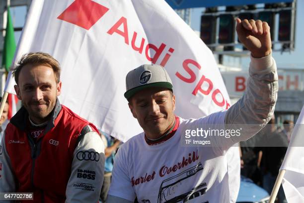 Timo Scheider of Germany and Audi team Phoenix Rene Rast of Germany and Audi Sport Team Phoenix during the practice session prior to the first race...