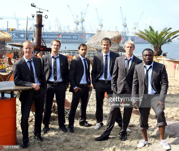 Timo Schultz Mathias Hain Fabio Morena Thomas Kessler Marius Ebbers and Gerald Asamoah pose during the FC St Pauli street wear presentation at Strand...