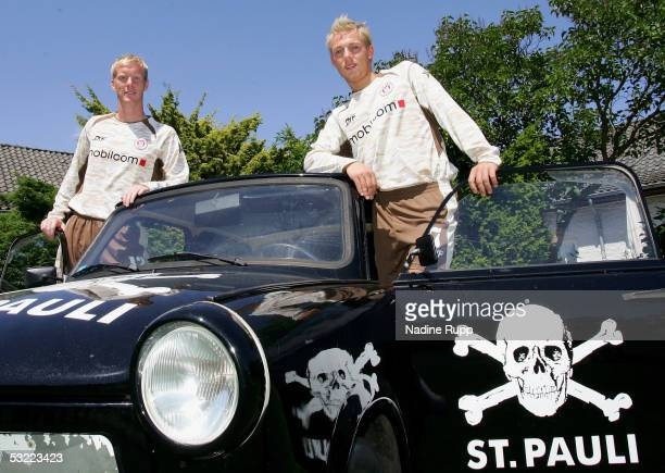 Timo Schulz and Dennis Tornieporth pose during the team presentation of FC StPauli for the Third League Season 2005 2006 on July 11 2005 in Hamburg...