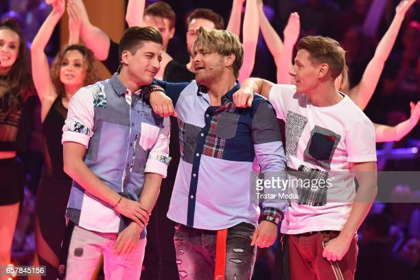 Timo Schulz Dirk Ostermann and Florian Flesch of the german band 'Die Zipfelbuben' perform during the show 'Schlagercountdown Das grosse...