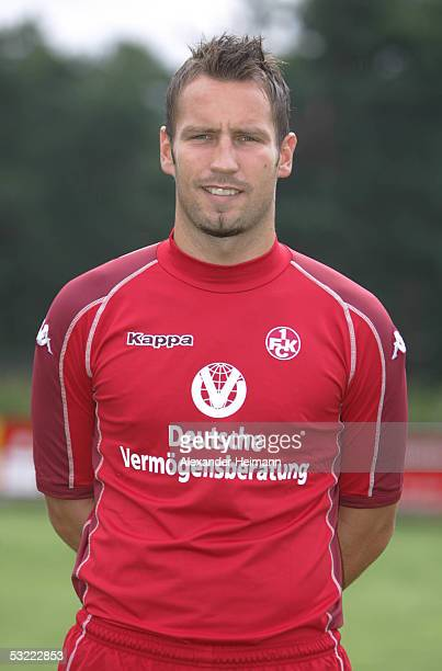 Timo Wenzel looks in the camera during the team presentation of 1FC Kaiserslautern for the Bundesliga season 2005 2006 on July 10 2005 in...
