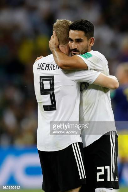 Timo Werner and Ilkay Gundogan of Germany celebrate their victory after winning the 2018 FIFA World Cup Russia Group F match between Germany and...