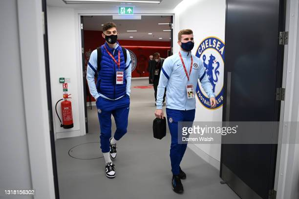 Timo Werner and Kai Havertz of Chelsea are seen wearing face masks as they arrive at the stadium prior to The Emirates FA Cup Final match between...