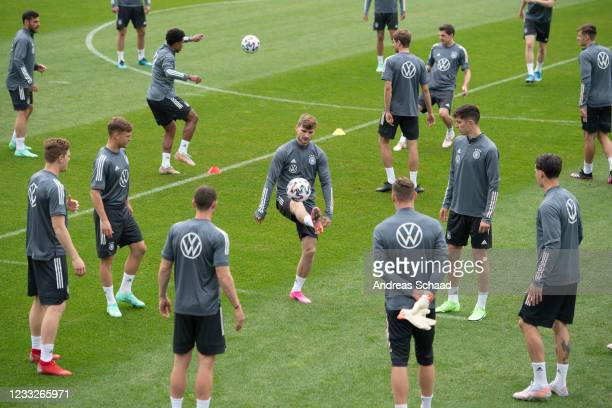 Timo Werner and Kai Havertz of Germany during Day 8 of the Germany training camp ahead of the UEFA EURO 2020 on June 04, 2021 in Seefeld in Tirol,...