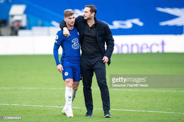 Timo Werner and manager Frank Lampard of Chelsea reacts during the Premier League match between Chelsea and Crystal Palace at Stamford Bridge on...