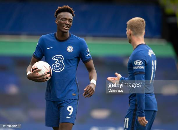 Timo Werner and Tammy Abraham discuss who should take Chelsea's second penalty during the Premier League match between Chelsea and Crystal Palace at...