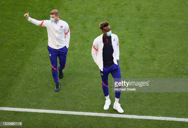 Timo Werner and Tammy Abraham of Chelsea inspect the pitch prior to the UEFA Champions League Final between Manchester City and Chelsea FC at Estadio...