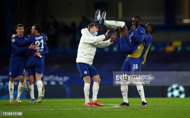 Timo Werner, Antonio Ruediger and Kurt Zouma of Chelsea celebrate following victory during the UEFA Champions League Semi Final Second Leg match...
