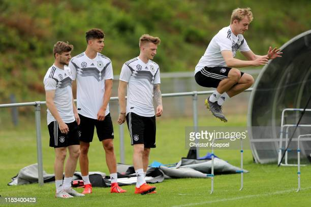 Timo Werner, Kai Havertz, Marco Reus and Julian Brandt of Germany during a training session ahead of their UEFA European Championship Qualifier match...